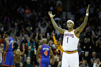CLEVELAND - FEBRUARY 25:  Daniel Gibson #1 of the Cleveland Cavaliers celebrates after scoring a three point shot during the game against the New York Knicks on February 25, 2011 at Quicken Loans Arena in Cleveland, Ohio. NOTE TO USER: User expressly ackn
