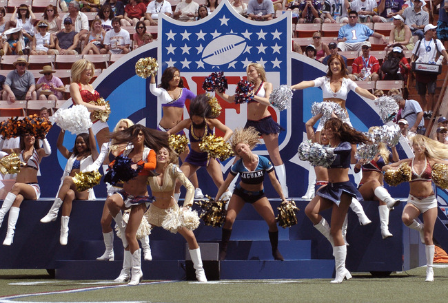 NFC cheerleaders perform during pre-game ceremonies February 12, 2006 at the Pro Bowl at Aloha Stadium in Honolulu, Hawaii.  (Photo by Al Messerschmidt/Getty Images)