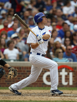 CHICAGO - SEPTEMBER 05: Tyler Colvin #21 of the Chicago Cubs hits the ball against the New York Mets at Wrigley Field on September 5, 2010 in Chicago, Illinois. The Mets defeated the Cubs 18-5. (Photo by Jonathan Daniel/Getty Images)