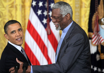 WASHINGTON, DC - FEBRUARY 15:  Former Boston Celtics captain Bill Russell (R) shares a moment with U.S. President Barack Obama during the 2010 Medal of Freedom presentation ceremony at the East Room of the White House February 15, 2011 in Washington, DC.