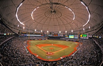 ST. PETERSBURG, FL - APRIL 13: General view as the Tampa Bay Rays play the season opener against the New York Yankees on April 13, 2009 at Tropicana Field in St. Petersburg, Florida.  (Photo by Al Messerschmidt/Getty Images)