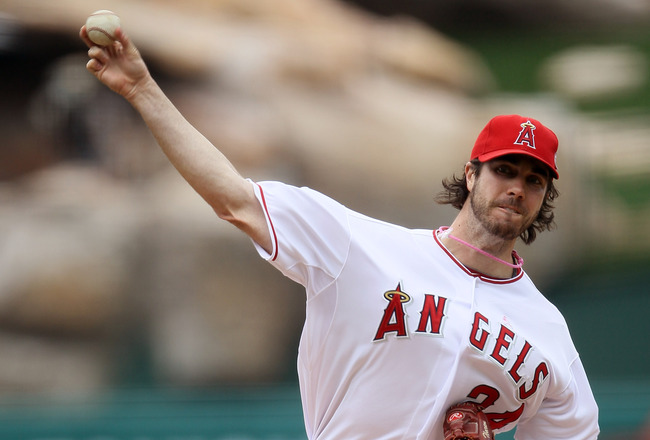 ANAHEIM, CA - MAY 8:  Dan Haren #24 of the Los Angeles Angels of Anaheim throws a pitch against the Cleveland Indians on May 8, 2011 at Angel Stadium in Anaheim, California.  (Photo by Stephen Dunn/Getty Images)