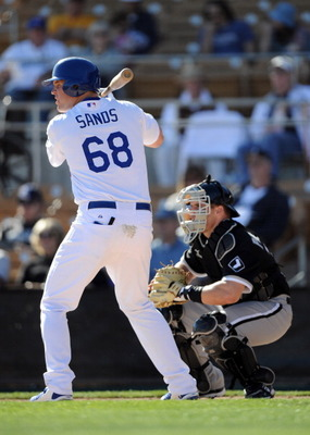 PHOENIX, AZ - FEBRUARY 28:  Jerry Sands #68 of the Los Angeles Dodgers at bat during spring training at Camelback Ranch on February 28, 2011 in Phoenix, Arizona.  (Photo by Harry How/Getty Images)