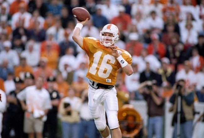 15 Oct 1994:  Quarterback Peyton Manning #16 of the Tennessee Volunteers in action during a game against the Alabama Crimson Tide.  The Alabama Crimson Tide won the game 17-13.  Mandatory Credit: Rick Stewart  /Allsport