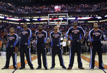 PHOENIX, AZ - MARCH 30:  The Oklahoma City Thunder stand attended before the NBA game against the Phoenix Suns at US Airways Center on March 30, 2011 in Phoenix, Arizona. The Thunder defeated the Suns 116-98.   NOTE TO USER: User expressly acknowledges an
