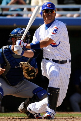 MESA, AZ - MARCH 09:  Kosuke Fukudome #1 of the Chicago Cubs plays against the Kansas City Royals during the spring training baseball game at HoHoKam Stadium on March 9, 2011 in Mesa, Arizona.  (Photo by Kevork Djansezian/Getty Images)