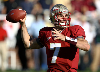 ATLANTA - NOVEMBER 1:  Quarterback Christian Ponder #7 of the Florida State Seminoles throws a pass during the game against the Georgia Tech Yellow Jackets at Bobby Dodd Stadium at Historic Grant Field on November 1, 2008 in Atlanta, Georgia.  The Yellow