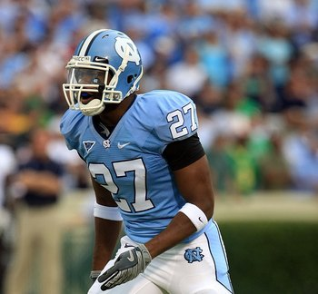 CHAPEL HILL, NC - OCTOBER 11:  Deunta Williams #27 of the North Carolina Tar Heels waits on the field against the Notre Dame Fighting Irish at Kenan Stadium October 11, 2008 in Chapel Hill, North Carolina.  (Photo by Scott Halleran/Getty Images)
