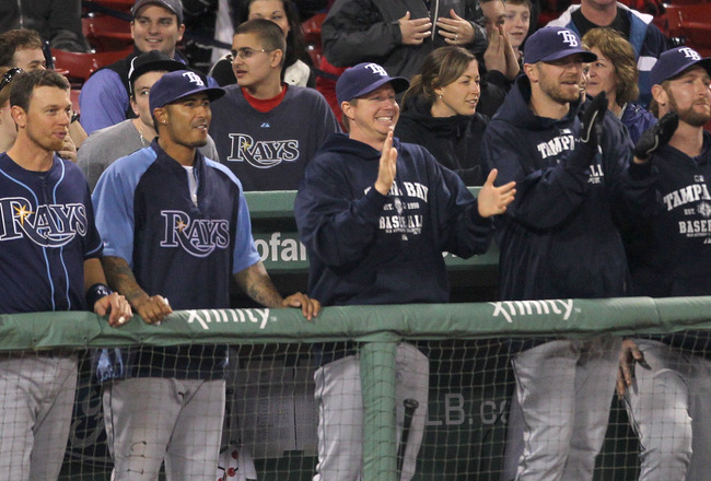 BOSTON, MA - APRIL 11:  The bench of the Tampa Bay Rays reacts during the game against the Boston Red Sox  at Fenway Park April 11, 2011 in Boston, Massachusetts. (Photo by Jim Rogash/Getty Images)