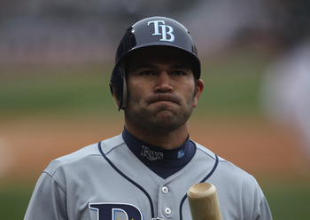 CHICAGO, IL - APRIL 07: Johnny Damon #22 of the Tampa Bay Ray swalks back to the dugout after striking out against Edwin Jackson of the Chicago White Sox during the home opener at U.S. Cellular Field on April 7, 2011 in Chicago, Illinois. (Photo by Jonath