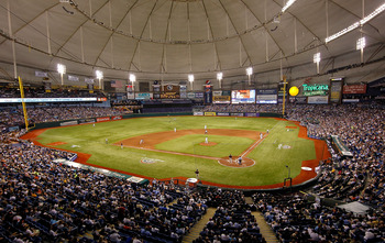 ST. PETERSBURG, FL - APRIL 01:  A wide view of Tropicana Field during the Opening Day game between the Tampa Bay Rays and the Baltimore Orioles on April 1, 2011 in St. Petersburg, Florida.  (Photo by J. Meric/Getty Images)