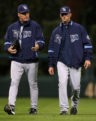 PHILADELPHIA - OCTOBER 29:  (L-R) Pitching coach Jim Hickey and Grant Balfour #50 of the Tampa Bay Rays walk towards the infield from the bullpen against the Philadelphia Phillies during the continuation of game five of the 2008 MLB World Series on Octobe