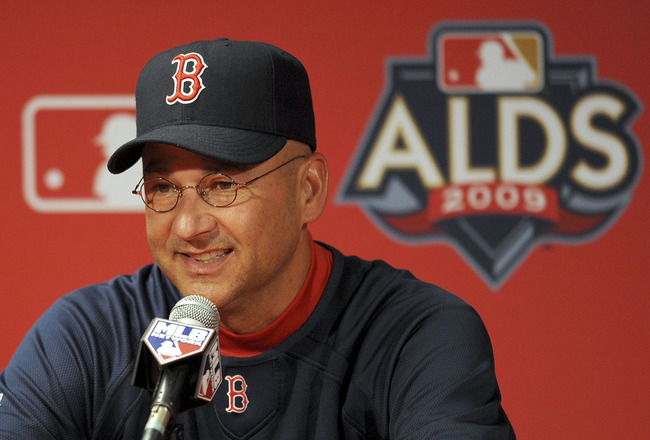 ANAHEIM, CA - OCTOBER 08:  Boston Red Sox manager Terry Francona speaks to the media before Game One of the ALDS against the Los Angeles Angels of Anaheim during the 2009 MLB Playoffs at Angel Stadium on October 8, 2009 in Anaheim, California.  (Photo by