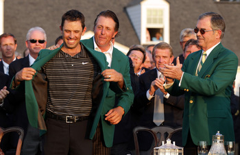 Masters Champion, Charles Schwartzel sporting his new Green Jacket