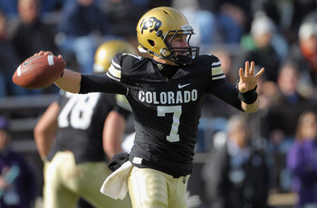 BOULDER, CO - NOVEMBER 20:  Quarterback Cody Hawkins #7 of the Colorado Buffaloes delivers a pass against the Kansas State Wildcats at Folsom Field on November 20, 2010 in Boulder, Colorado. Colorado defeated Kansas State 44-36.  (Photo by Doug Pensinger/