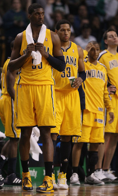 BOSTON, MA - MARCH 16:  Roy Hibbert #55 and Danny Granger #33 of the Indiana Pacers react after the game against the Boston Celtics on March 16, 2011 at the TD Garden in Boston, Massachusetts. The Celtics defeated the Indiana Pacers 92-80. NOTE TO USER: U