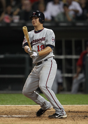 CHICAGO - AUGUST 10: Danny Valencia #19 of the Minnesota Twins takes a swing against the Chicago White Sox at U.S. Cellular Field on August 10, 2010 in Chicago, Illinois. The Twins defeated the White Sox 12-6. (Photo by Jonathan Daniel/Getty Images)