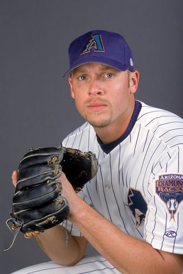 24 Feb 2001:  Brian Anderson #34 of the Arizona Diamondbacks Poses for a studio portrait during Spring Training at Tucson Electric Park in Tucson, Arizona.Mandatory Credit: Todd Warshaw  /Allsport