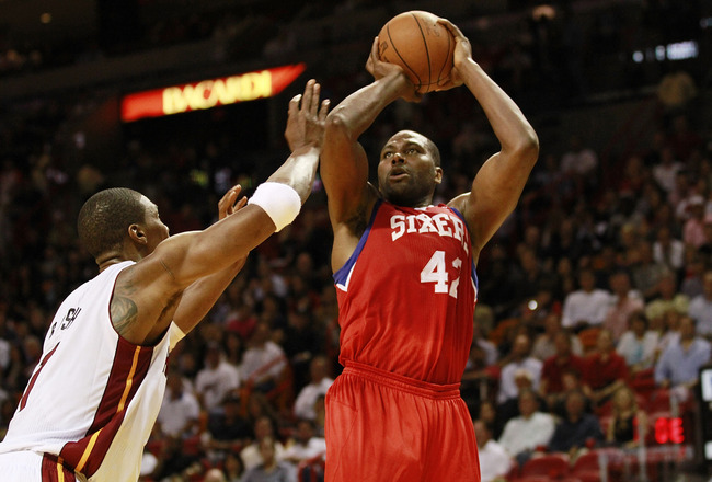 MIAMI, FL - MARCH 25: Guard Elton Brand #42 of the Philadelphia Sixers shoots against the Miami Heat at American Airlines Arena on March 25, 2011 in Miami, Florida. The Heat defeated the Sixers 111-99. NOTE TO USER: User expressly acknowledges and agrees