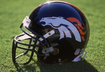 23 Sep 2001:  A general view of the Denver Broncos helmet after the game against the Arizona Cardinals at the Sun Devil Stadium in Tempe, Arizona. The Broncos defeated the Cardinals 38-17.Mandatory Credit: Jeff Gross  /Allsport
