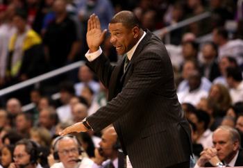 LOS ANGELES - FEBRUARY 25: Head coach Doc Rivers of the Boston Celtics complains to the referees during the game with the Los Angeles Clippers on February 25, 2009 at Staples Center in Los Angeles, California.  The Clippers won 93-91.   NOTE TO USER: User