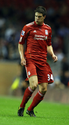 LIVERPOOL, ENGLAND - SEPTEMBER 22:  Martin Kelly of Liverpool in action during the Carling Cup Third Round match between Liverpool and Northampton Town at Anfield on September 22, 2010 in Liverpool, England. (Photo by Pete Norton/Getty Images)