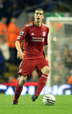 LIVERPOOL, ENGLAND - SEPTEMBER 22:  Daniel Agger of Liverpool in action during the Carling Cup Third Round match between Liverpool and Northampton Town at Anfield on September 22, 2010 in Liverpool, England. (Photo by Pete Norton/Getty Images)