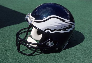 8 Oct 2000:  A general view of the Philadelphia Eagles helmet after the game against the Washington Redskins at the Veterans Stadium in Philadelphia, Pennsylvania. The Redskins defeated the Eagles 17-14.Mandatory Credit: Doug Pensinger  /Allsport