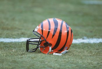 10 Dec 2000:   A view of the Cincinnati Bengals helmet taken during the game against the Tennessee Titans at the Adelphia Coliseum in Nashville, Tennessee. The Titans defeated the Bengals 35-3.Mandatory Credit: Scott Halleran  /Allsport