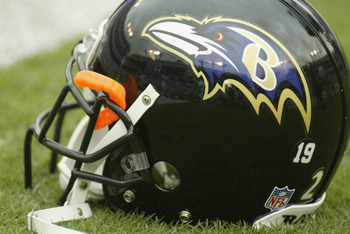 BALTIMORE - SEPTEMBER  15:  Detail of the helmet of the Baltimore Ravens before the NFL game against the Tampa Bay Buccaneers on September 15, 2002 at Ravens Stadium in Baltimore, Maryland. The Buccaneers shut out the Ravens 25-0.  (Photo By Scott Hallera