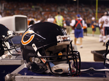 CLEVELAND - SEPTEMBER 2: A Chicago Bears helmet sits on the sideline during the preseason game between the Chicago Bears and the Cleveland Browns on September 2, 2010 at Cleveland Browns Stadium in Cleveland, Ohio. The Browns defeated the Bears 13-10. (Ph