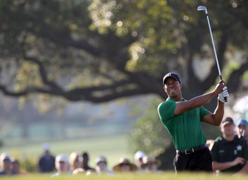 ORLANDO, FL - MARCH 25:  Tiger Woods plays a shot on the 13th hole during the second round of the Bay Hill Invitational presented by MasterCard at the Bay Hill Club and Lodge on March 25, 2011 in Orlando, Florida.  (Photo by Sam Greenwood/Getty Images)