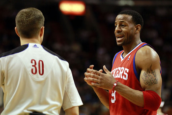 MIAMI, FL - MARCH 25:  Guard Andr Iguodala #9 of the Philadelphia Sixers argues with the referee against the Miami Heat at American Airlines Arena on March 25, 2011 in Miami, Florida. The Heat defeated the Sixers 111-99. NOTE TO USER: User expressly ackno