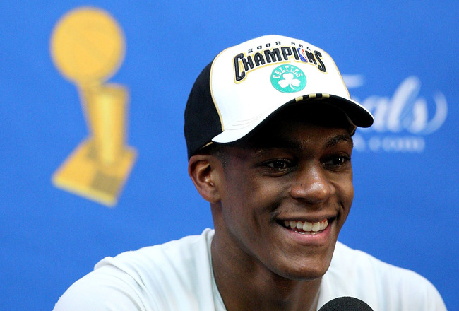 BOSTON - JUNE 17:  Rajon Rondo #9 of the Boston Celtics speaks to the media after the Celtics' win over the Los Angeles Lakers in Game Six of the 2008 NBA Finals on June 17, 2008 at TD Banknorth Garden in Boston, Massachusetts. The Celtics defeated the La