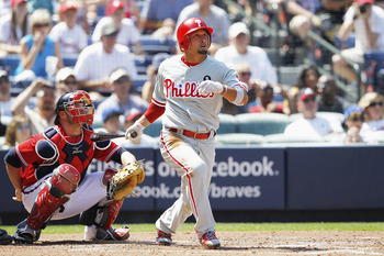 ATLANTA, GA - APRIL 10: Shane Victorino #8 of the Philadelphia Phillies follows through on a solo home run in the 6th inning against the Atlanta Braves at Turner Field on April 10, 2011 in Atlanta, Georgia. The Phillies won 3-0. (Photo by Joe Robbins/Gett