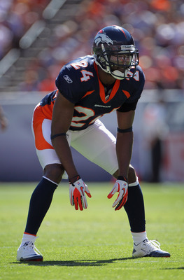 DENVER - SEPTEMBER 19:  Cornerback Champ Bailey #24 of the Denver Broncos lines up against against the Seattle Seahawks at INVESCO Field at Mile High on September 19, 2010 in Denver, Colorado. The Broncos defeated the Seahawks 31-14.  (Photo by Doug Pensi