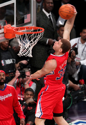 LOS ANGELES, CA - FEBRUARY 19:  Blake Griffin #32 of the Los Angeles Clippers dunks the ball over a car in the final round of the Sprite Slam Dunk Contest apart of NBA All-Star Saturday Night at Staples Center on February 19, 2011 in Los Angeles, Californ
