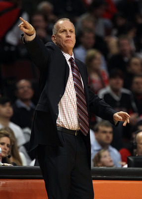 CHICAGO, IL - MARCH 28: Head coach Doug Collins of the Philadelphia 76ers gives instructions to his team during a game against the Chicago Bulls at the United Center on March 28, 2011 in Chicago, Illinois. The 76ers defeated the Bulls 97-85. NOTE TO USER:
