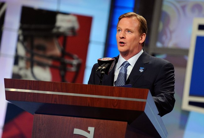 NEW YORK - APRIL 22:  NFL Commissioner Roger Goodell announces that the St. Louis Rams selected quarterback Sam Bradford from the Oklahoma Sooners first overall during the first round of the 2010 NFL Draft at Radio City Music Hall on April 22, 2010 in New