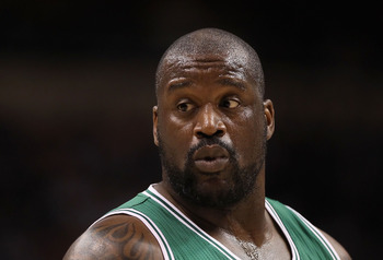PHOENIX, AZ - JANUARY 28:  Shaquille O'Neal #36 of the Boston Celtics during the NBA game against the Phoenix Suns at US Airways Center on January 28, 2011 in Phoenix, Arizona.  The Suns defeated the Celtics 88-71.  NOTE TO USER: User expressly acknowledg