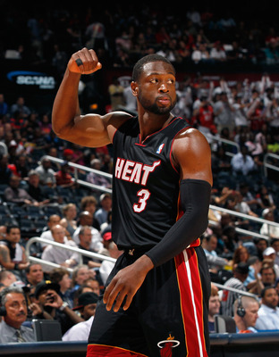 ATLANTA, GA - APRIL 11:  Dwyane Wade #3 of the Miami Heat reacts after a turnover by the Atlanta Hawks at Philips Arena on April 11, 2011 in Atlanta, Georgia.  NOTE TO USER: User expressly acknowledges and agrees that, by downloading and/or using this Pho
