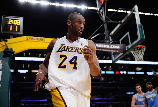 LOS ANGELES, CA - APRIL 03:  Kobe Bryant #24 of the Los Angeles Lakers reacts during the game against the Denver Nuggets  at Staples Center on April 3, 2011 in Los Angeles, California. NOTE TO USER: User expressly acknowledges and agrees that, by download