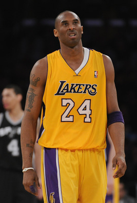 LOS ANGELES, CA - APRIL 12:  Kobe Bryant #24 of the Los Angeles Lakers reacts after a fould during the game against the San Antonio Spurs at Staples Center on April 12, 2011 in Los Angeles, California.  NOTE TO USER: User expressly acknowledges and agrees