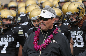 BOULDER, CO - NOVEMBER 13:  Interim head coach Brian Cabral prepares to lead Cody Hawkins #7, Scotty McKnight #21 and BJ Beatty #59 and the Colorado Buffaloes onto the field to face the Iowa State Cyclones at Folsom Field on November 13, 2010 in Boulder,