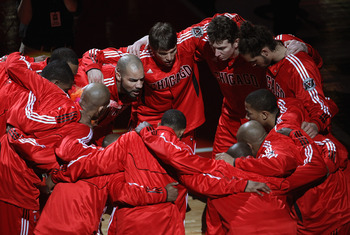 CHICAGO, IL - APRIL 13: The Chicago Bulls huddle before a game against the New Jersey Nets at the United Center on April 13, 2011 in Chicago, Illinois. The Bulls defeated the Nets 97-92. NOTE TO USER: User expressly acknowledges and agress that, by downlo