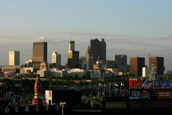 ATLANTA - APRIL 6:  The Atlanta skyline sits beyond Turner Field before the start of the New York Mets versus Atlanta Braves during the Braves home season opening game at Turner Field April 6, 2007 in Atlanta, Georgia.  (Photo by Streeter Lecka/Getty Imag