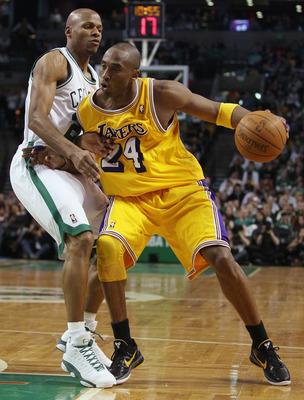 BOSTON, MA - FEBRUARY 10:  Kobe Bryant #24 of the Los Angeles Lakers tries to get around Ray Allen #20 of the Boston Celtics on February 10, 2011 at the TD Garden in Boston, Massachusetts.  The Lakers defeated the Celtics 92-86. NOTE TO USER: User express