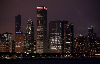 CHICAGO - OCTOBER 01:  The Chicago skyline is lit up with support for the city's bid to host the 2016 Olympics October 1, 2009 in Chicago, Illinois. The city is hosting a party in Daley Plaza tomorrow so residents can watch live as the International Olymp