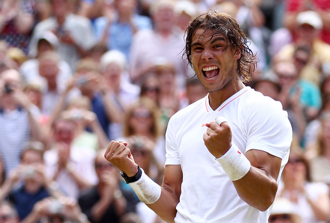 LONDON, ENGLAND - JULY 04:  Rafael Nadal of Spain celebrates Championship Point during his Mens Singles Final match against Tomas Berdych of Czech Republic on Day Thirteen of the Wimbledon Lawn Tennis Championships at the All England Lawn Tennis and Croqu