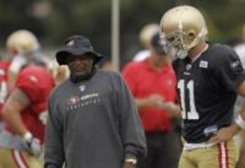 Jimmy Raye took the job as 49ers' offensive coordinator after Smith suffered a shoulder injury.